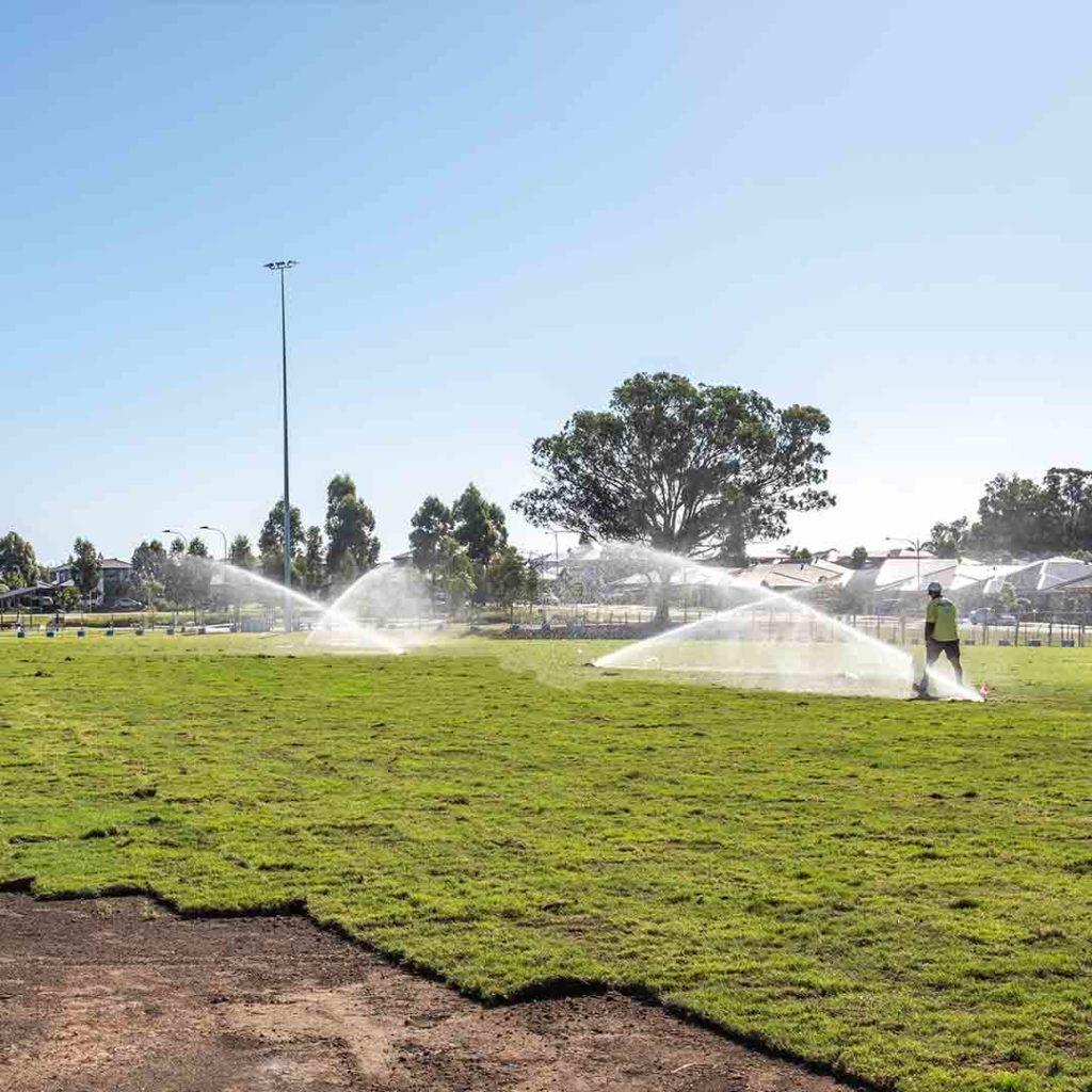 Irrigation as turf laid